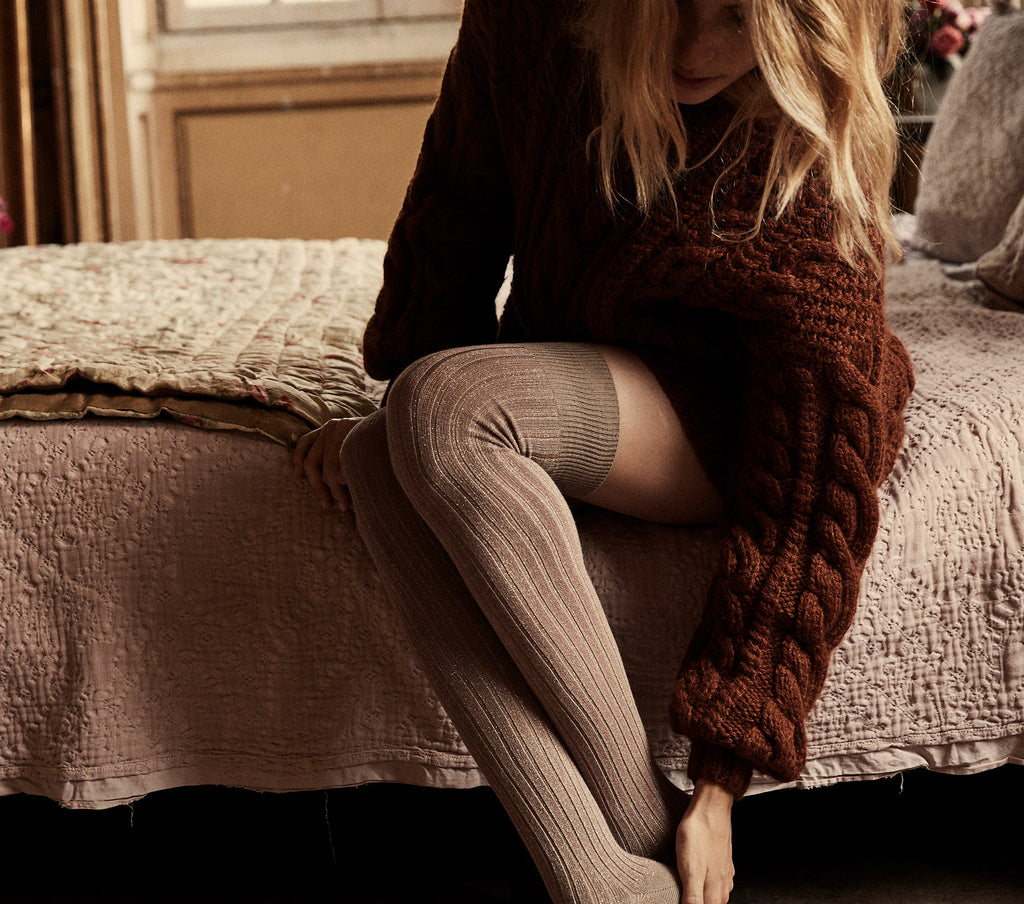 collégien x doen thigh high sock metallic ribbed lurex petite taupe