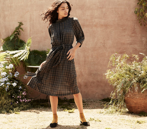 navy plaid cotton belted midi length dress