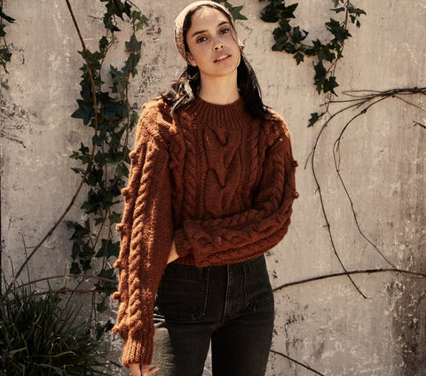 handknit cropped thick heavy cable knit women's sweater brown