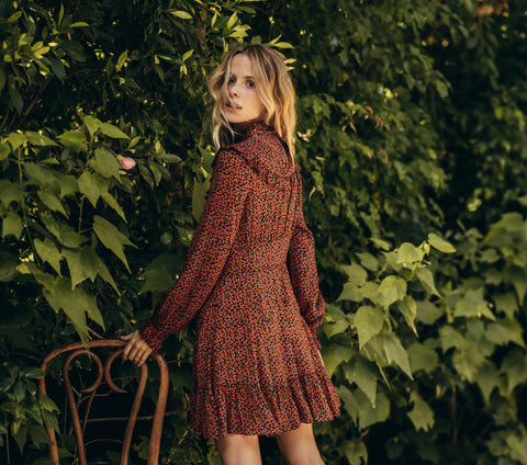 doen minuit dress long sleeve mini cherry print ruffled yoke