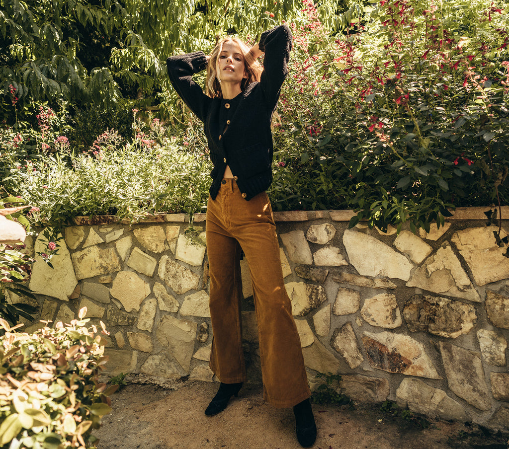 doen melody pant high waisted corduroy cropped flare mustard