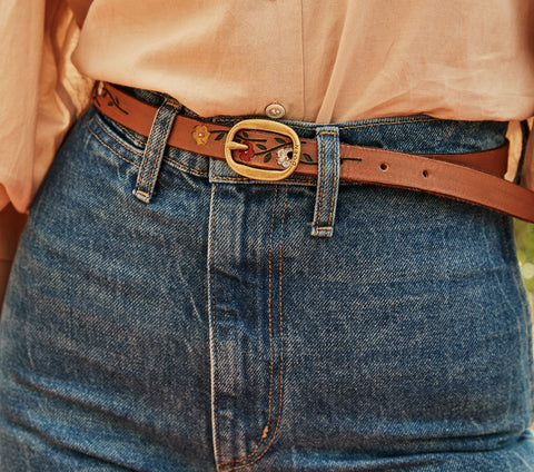 doen felix belt brown leather handpainted vintage style flower skinny belt