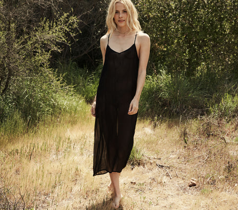 LONG DEEP V-NECK SLIP -- BLACK