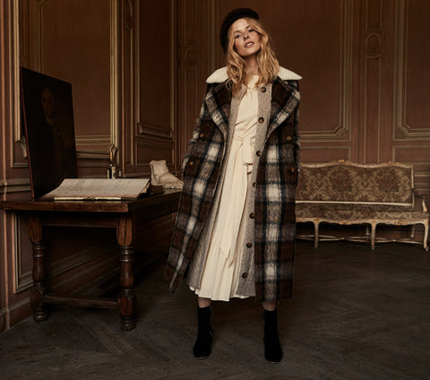 doen thalia coat long shearling trim plaid vintage inspired jacket