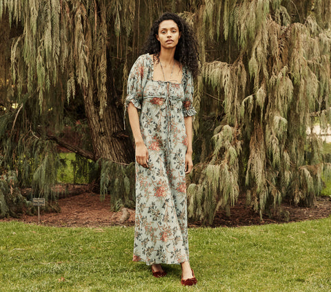 VETIVER DRESS -- BLUEBELL SUMMER FLORAL