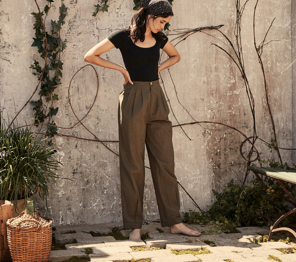 doen zora pant high waist cropped leg cotton trouser