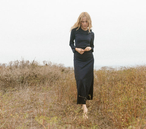 Long Sleeved Didion Dress in Deep Ink | DÔEN