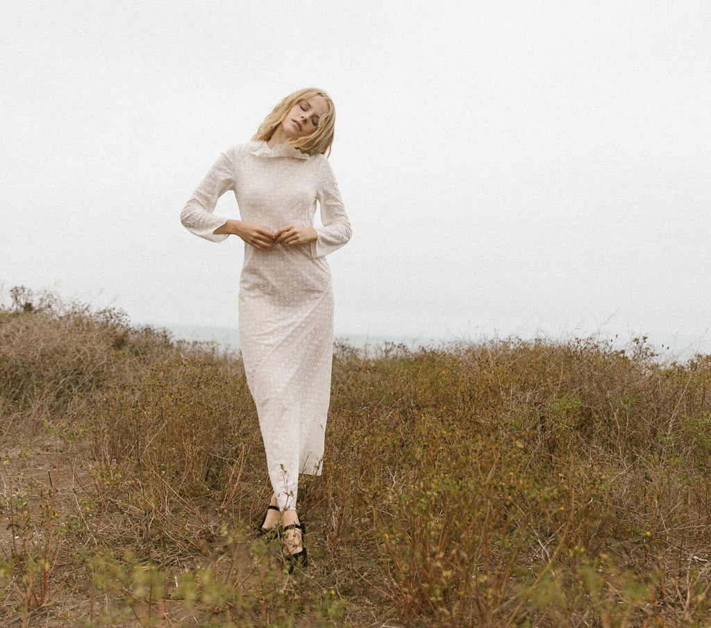 Long Sleeved Didion Dress in Seasalt | DÔEN