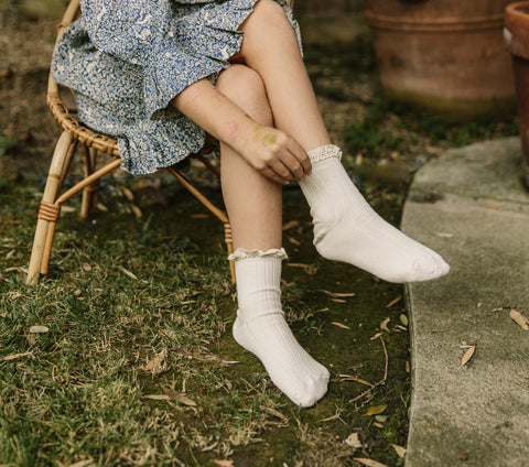 Collégien Kids Ruffle ankle Sock french cotton cream
