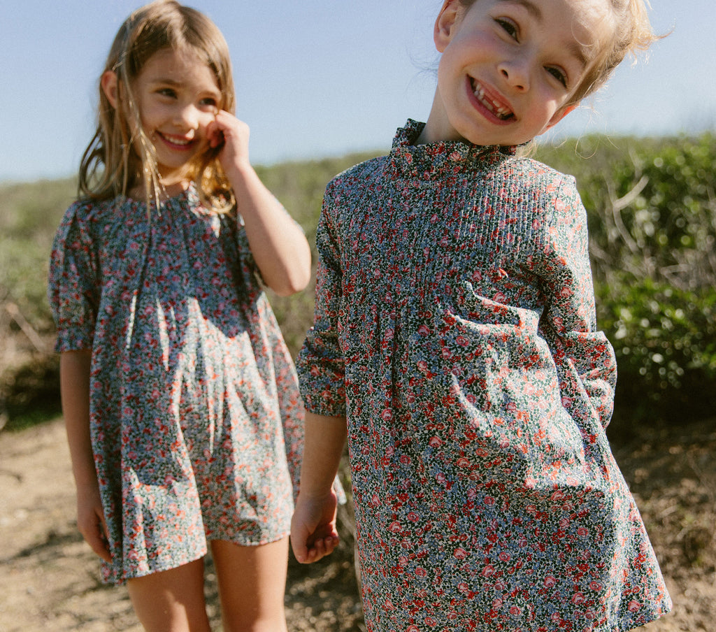YEARLING BY DÔEN STRAWBERRY DRESS -- WHITE PETIT JARDIN PRINT