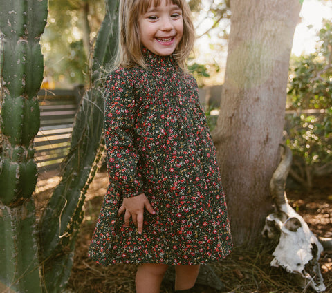 YEARLING BY DÔEN STRAWBERRY DRESS -- BLACK PETIT JARDIN PRINT