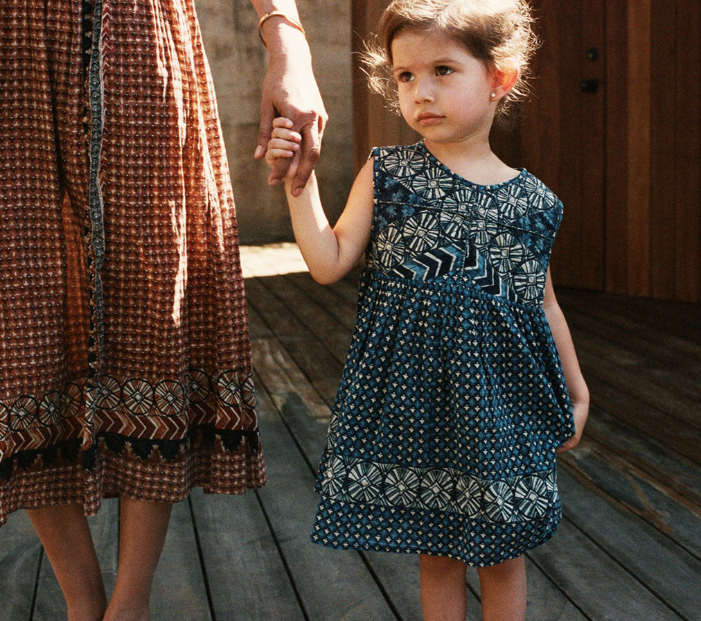 YEARLING BY DOEN MINI TULSI DRESS -- INDIGO COMBO