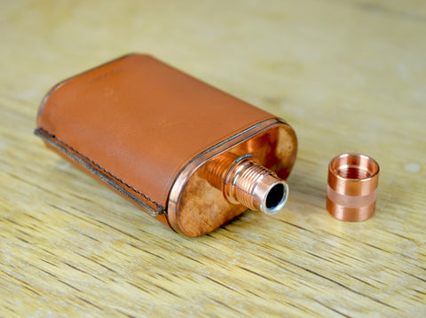 Copper Flask with Hand Stitched Leather Wrap