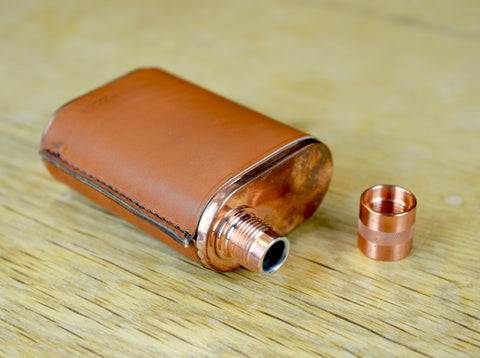 The Vermonter Flask with Leather Hand Made