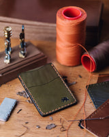 Hand Stitched Money Clip Wallet - Olive