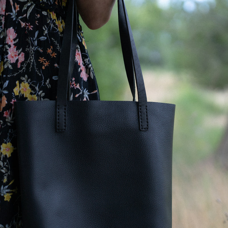Utility Tote - Black Supple Leather