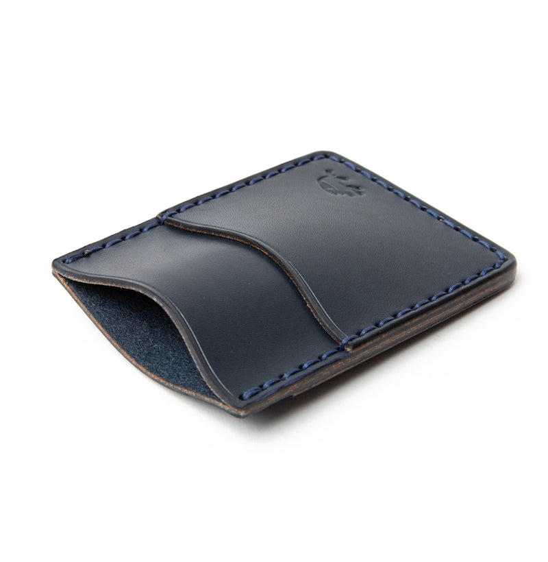 Hand Stitched Money Clip Wallet - Navy