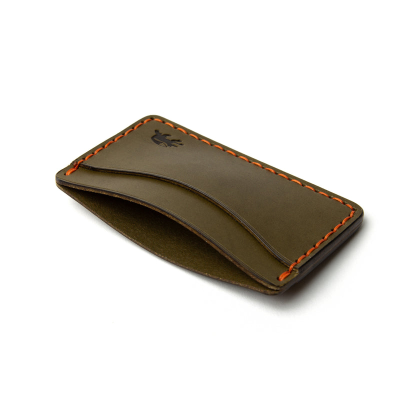 Hand Stitched Card Wallet - Olive