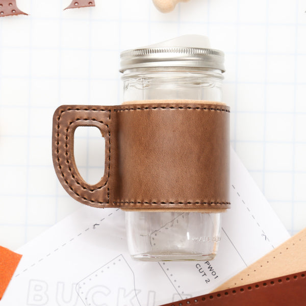 DIY Mason Jar Wrap With Wool Lining Leather Kit