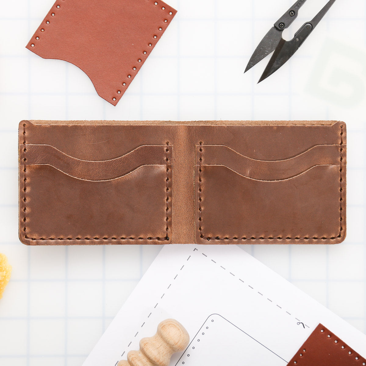 DIY 5-Pocket Bifold Wallet Leather Kit