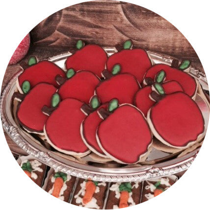 Apple Shaped Sugar Cookies- 6 count