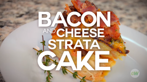 Air Fryer Bacon Cheese Strata Cake