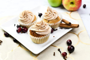 Apple Cider Cupcakes with Apple Cider Cranberry Filling & Cinnamon Cream Frosting