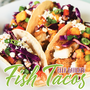 Air-Fried Beer Battered Fish Tacos with Mango Salsa Recipe