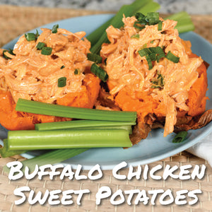 Buffalo Chicken Sweet Potatoes