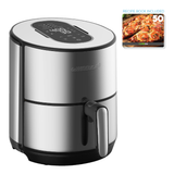 4.6 Quart Stainless Steel Electric Air Fryer + Dehydrator - GoWISE USA
