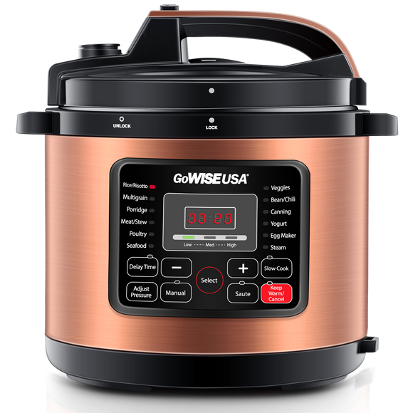 Copper 12-in-1 Pressure Cooker with Measuring Cup and Spoon, Stainless Steel Rack and 2 Steam Baskets