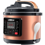 Copper 12-in-1 Pressure Cooker with Measuring Cup and Spoon, Stainless Steel Rack and Steam Basket (6Qt, 8Qt, 10Qt, 12.5Qt) - GoWISE USA