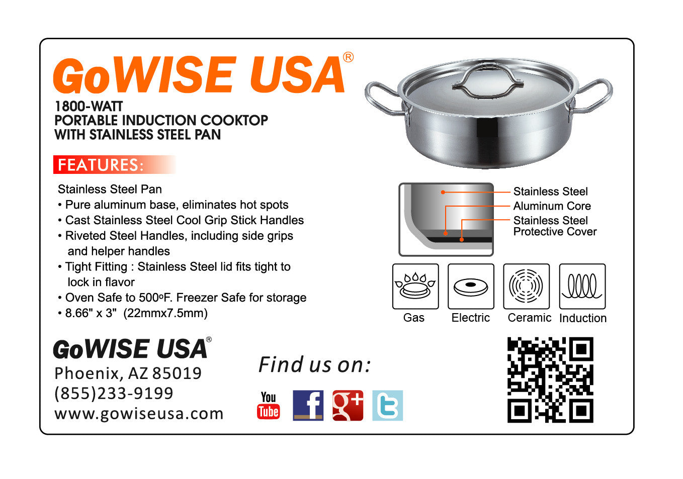 Portable induction cooktop with stainless steel pan for Gowise usa