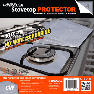 GoWISE USA Non-Stick Stovetop Protector Sheets, 4-pack
