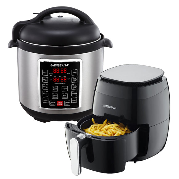 3.7-Quart 8-in-1 Digital Touchscreen Air Fryer (Black) + 10-in-1 Electric Pressure Cooker - GoWISE USA