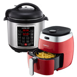 3.7-Quart Dial Control Air Fryer (Red) + 10-in-1 Electric Pressure Cooker - GoWISE USA