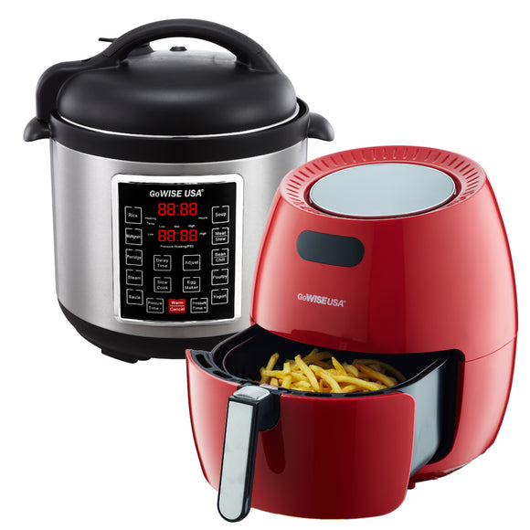 5.8-Quart 8-in-1 Digital Touchscreen Air Fryer (Red) + 10-in-1 Electric Pressure Cooker - GoWISE USA
