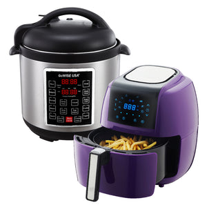 3.7-Quart 8-in-1 Digital Touchscreen Air Fryer (Plum) + 10-in-1 Electric Pressure Cooker - GoWISE USA
