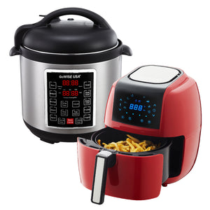 3.7-Quart 8-in-1 Digital Touchscreen Air Fryer (Red) + 10-in-1 Electric Pressure Cooker - GoWISE USA