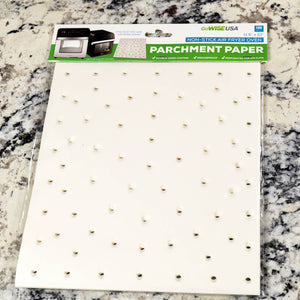 "11.5"" x 10"" Perforated Parchment Non-Stick Liners for Air Fryer Toaster Ovens, 100 Pcs"