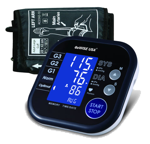 GoWISE USA Digital Upper Arm Blood Pressure Monitor, Hypertension and Irregular Heartbeat Indicator