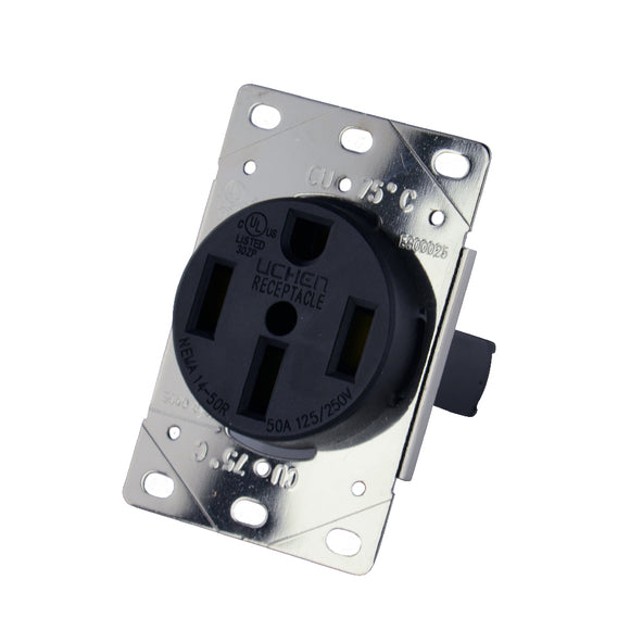 GoWISE Power RVP5008 50AMP125/250 Volt, NEMA 14-50R RV, Flush mouting RV Receptacle - GoWISE USA