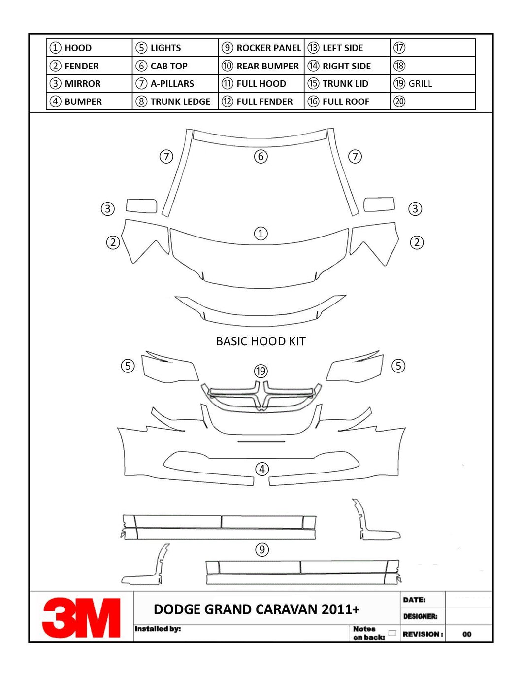 GRAND CARAVAN  2011  2012  2013  2014  2015  2016  2017 2018  DODGE  3M Scotchgard Paint Protection Film Kit