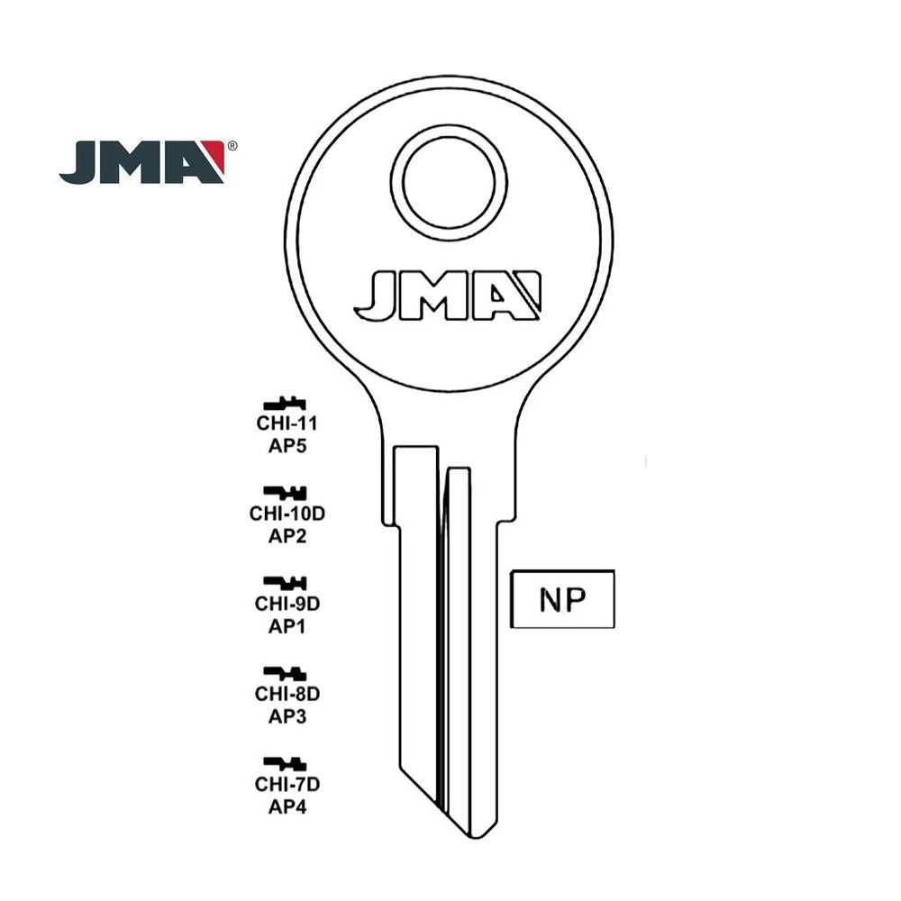 103AM Chicago Commercial Residencial Key Blank AP3 CHI 8D Packs of 10