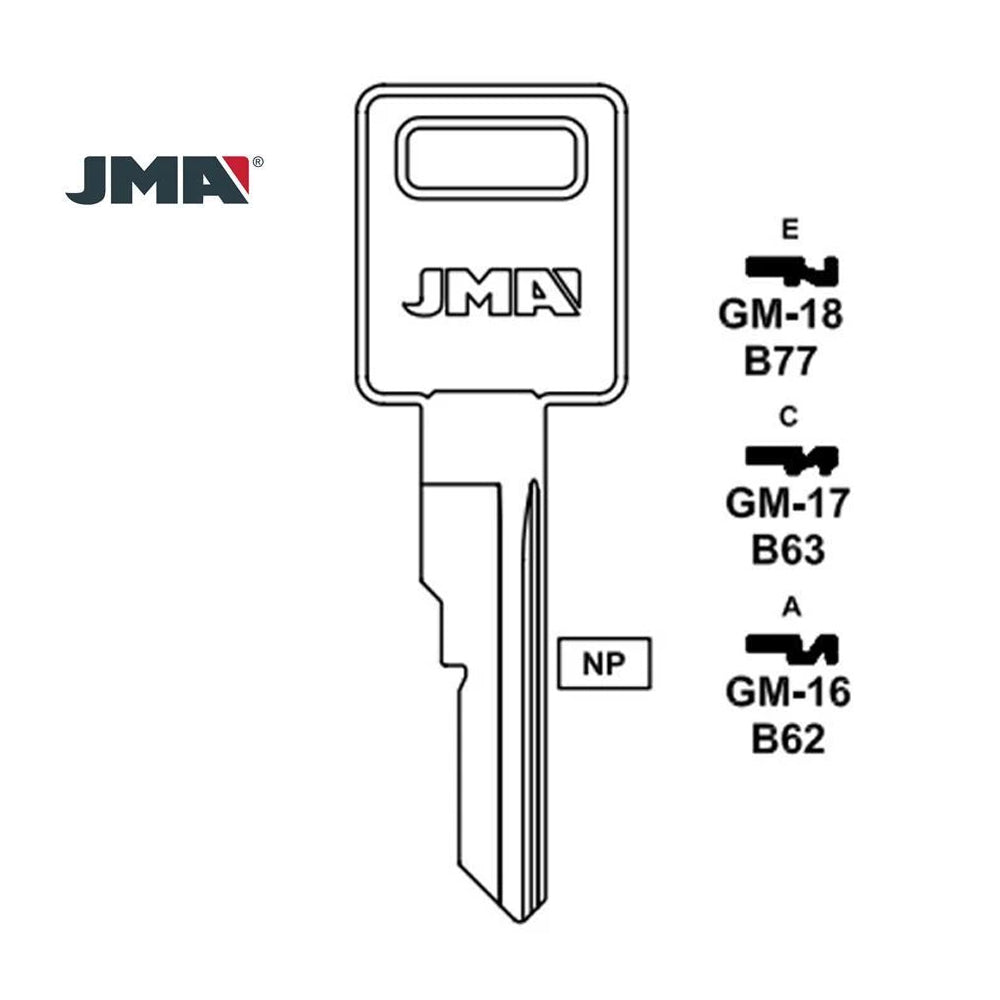 GM Key Blank - B77 /  GM-18 (Packs of 10)