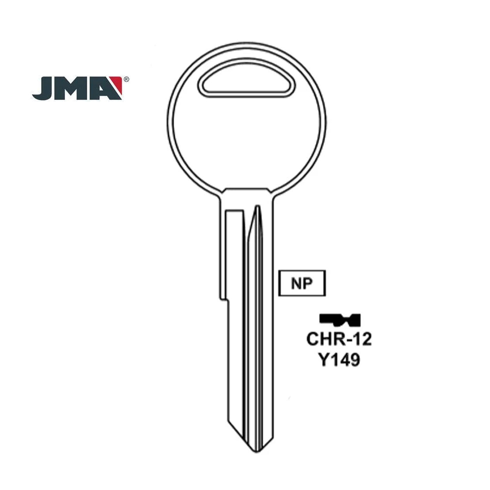 Chrysler Dodge Jeep Key Blank - Y149 / CHR-12E (Packs of 10)