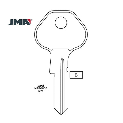 1092-6000 Master Padlock Key Blank - M20 / MAS-18DE (Packs of 10)