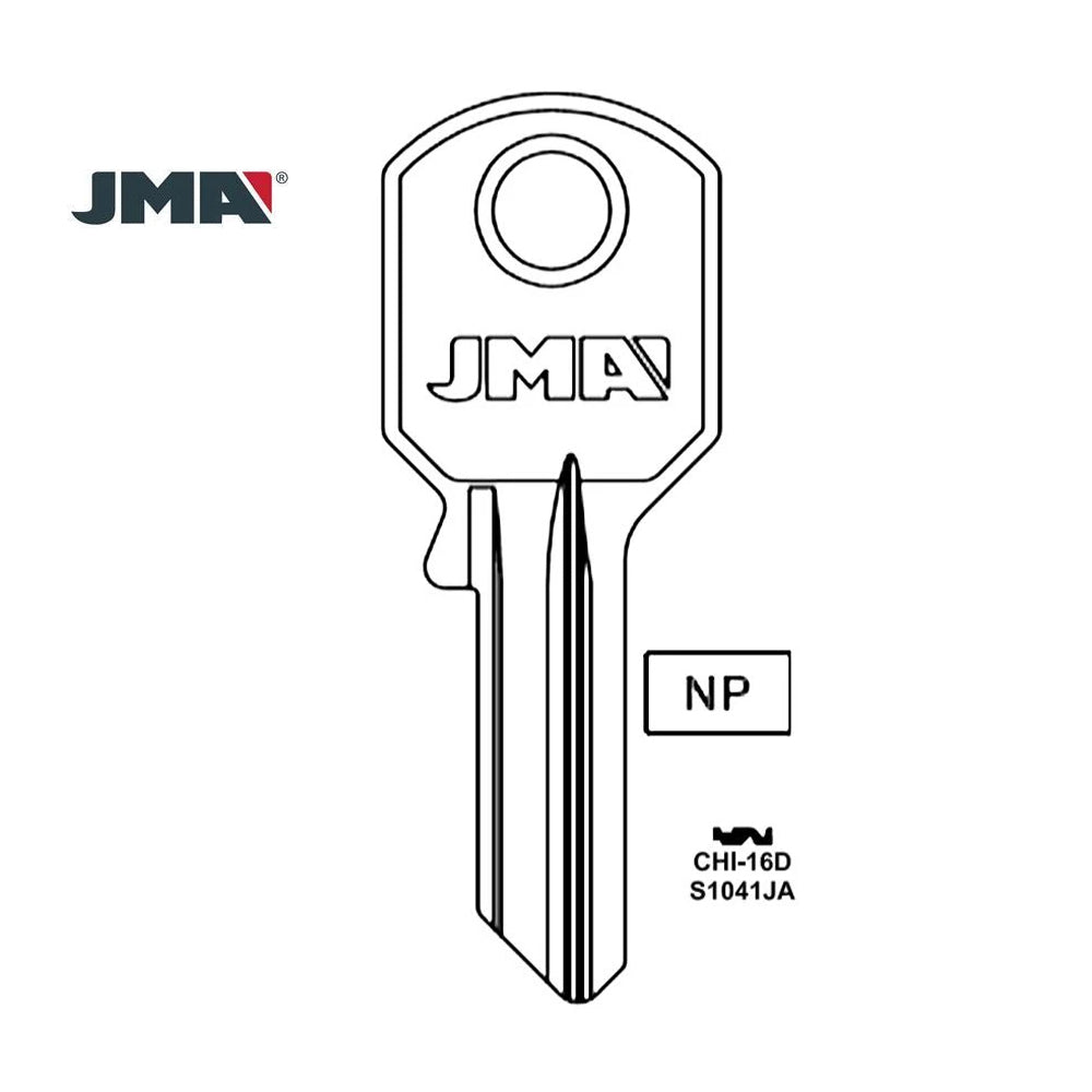 S1041JA Chicago Commercial & Residencial Key Blank - S1041JA / CHI-16D (Packs of 10)