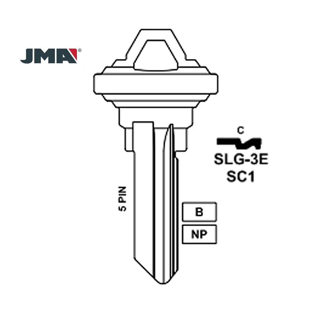 JMA for 1145 5-Pin Schlage Keys - Nickel / SC1 NP- 50 Pack