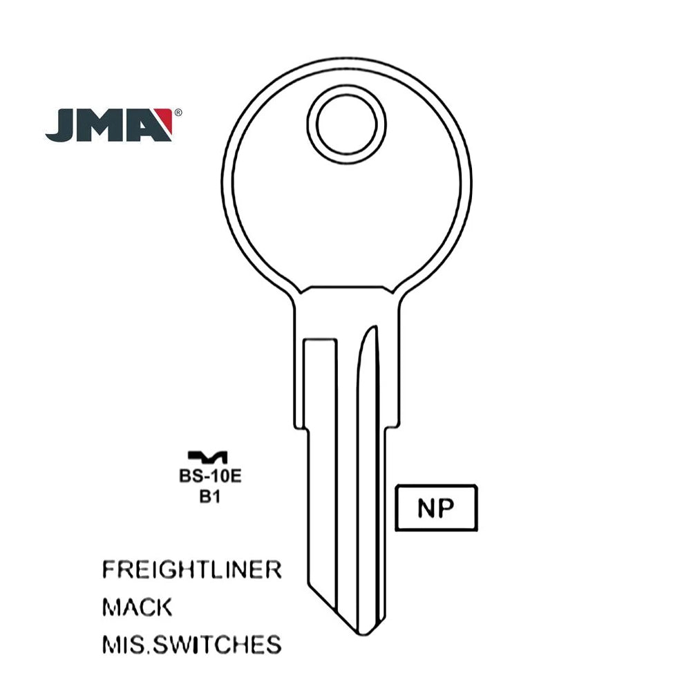 GM Mack Freightliner GMC Volvo Truck Key Blank Briggs & Stratton - B1 / BS-10E (Packs of 10)